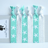 Hair Ties ~ 6 Pack of White w/Silver Dots, White Starfish on Sea Foam Green Handmade Trendy Ponytail Holders Knotted Elastic