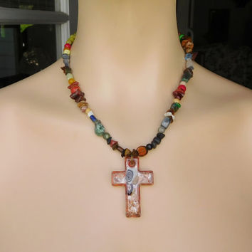 Orange Cross Pendant Boho Necklace Hippie Choker Bohemian Cowgirl Indie Fashion Lampwork Hipster Gypsy Glass Unique Beautiful Colorful