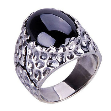 Cracked Texture Ring Black Onyx Stone .925 Silver Ring for Jewelry Fine Men's-Size 11