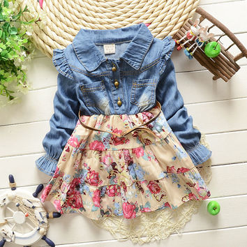 New Girls cowboy dress cotton dress baby Girls autumn clothes kids girls dress