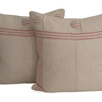 Antique Belgian Grain Sack Pillows, Pair