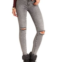 DISTRESSED ACID WASH SKINNY JEAN