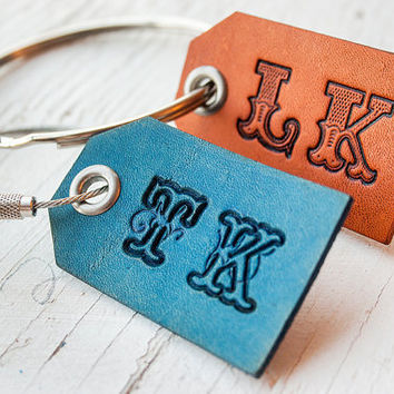 Mini Luggage Tag with Initials - pick Font, Initials, stain and grommet color - Giant key ring - Key ring - Leather Key fob