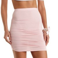 Dusty Pink Ruched Bodycon Mini Skirt by Charlotte Russe
