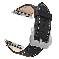 Apple Watch Band, 38mm iWatch Band Strap Premium Vintage Genuine Leather Replacement Watchband with Secure Metal Clasp Buckle for Apple Watch Sport Edition