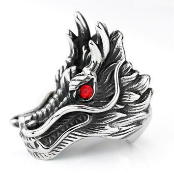 2017 new hot sale Dragon Head Rings For Men Punk Rock Style Red Stone Rings Party Jewelry personalized exaggerated rings   CRD87