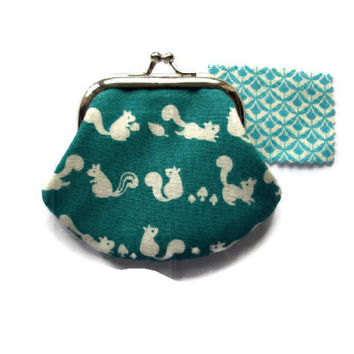 Small Fabric Coin Purse -Small Change Purse- Framed Coin Purse - Kiss Clasp Frame- UK Seller