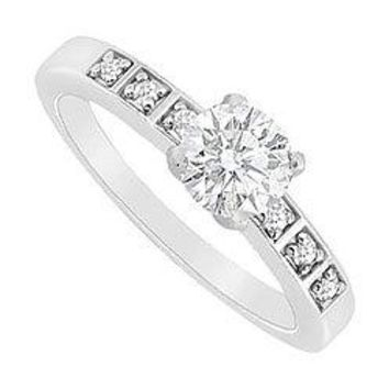 14K White Gold Semi Mount Engagement Ring with 0.10 Carat Diamonds Center Diamond Not Included