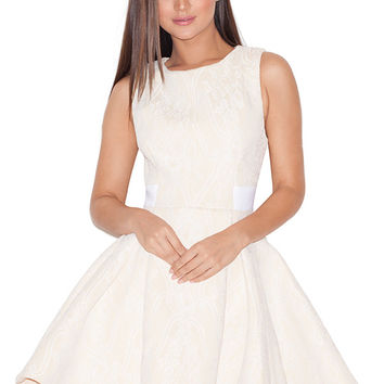 Clothing : Structured Dresses : 'Farina' Pale Peach Lace Overlay Neoprene Skater Dress
