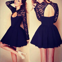 Black Lace Long Sleeve Cut-Out Skater Dress