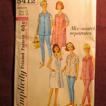 SALE Uncut 1960's Simplicity Sewing Pattern, 5412! Size 12 Small/Women's/Misses/Jumper Dresses/Maternity Tops & Bottoms/Blouses/Shirts/Colla