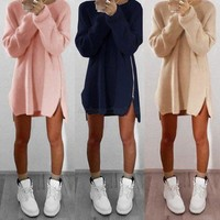 Caitlin Zip Sweater - Women Oversized Long Sleeve Knitted Sweater Tops Cardigan Outwear Coat