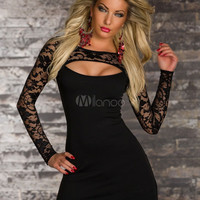Black Sexy Cut-Out Bodycon Club Dress for Women