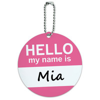Mia Hello My Name Is Round ID Card Luggage Tag