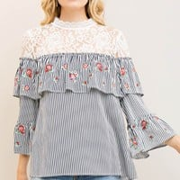 Mock-Neck Lace with Embroidery Double-Layer Blouse
