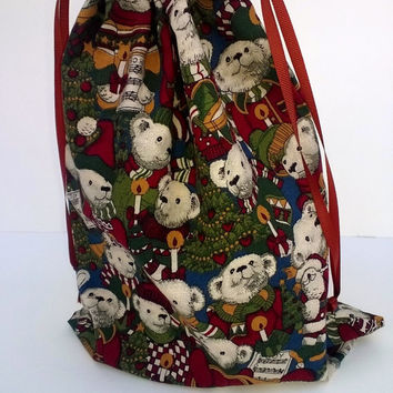 Teddy Bear Christmas Drawstring Fabric Gift Bag Upcycled, Reusable 9 X 11 Inches