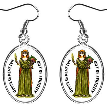 "Goddess Demeter Gift of Fertility 1"" Silver Earrings"