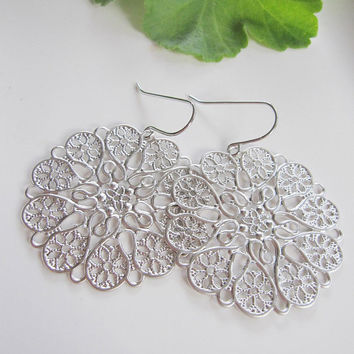 Silver Filigree Earrings, Hearts and Flower Design- gift for her, Everyday Wear