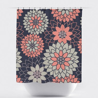 Navy/Coral Flower Shower Curtain