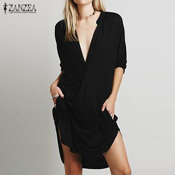 Vestidos 2017 ZANZEA Women Casual Loose Dress Elegant Ladies Sexy V Neck Long Sleeve Asymmetric Mini Dress Plus Size Pullover