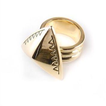 House of Harlow 14kt Yellow Gold Plated Faceted Pyramid Cocktail Ring