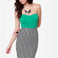 LULUS Exclusive Drive My Car Teal Striped Dress