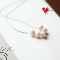 Carrie's necklace, simple crystal necklace, wedding jewellery, silver chain