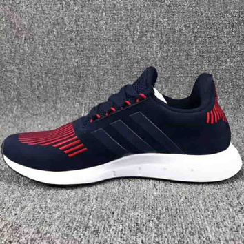 ADIDAS 2018 Men's and Women's Tide Brand Fresh Pigs Leather Running Shoes F-CSXY blue/red