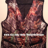 Men's Satin Camo Vest  Large by MoonjellyDesigns on Etsy