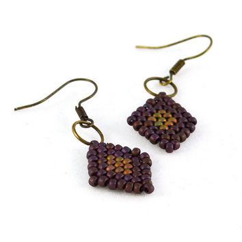 Boho Jewelry Diamond Drop Earrings in Marsala and Sand Beadwork