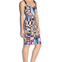 CUBIST PRINT CUT-OUT SHEATH