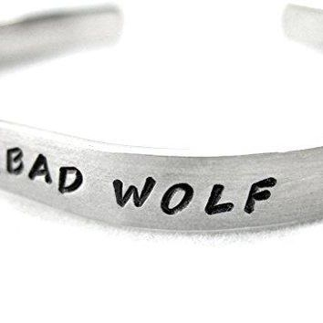 Bad Wolf Doctor Who Hand Stamped Bracelet  Made by Foxwise Jewelry