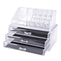 Makeup Cosmetics Organizer - Clear Acrylic 3 Drawers 12 Grids