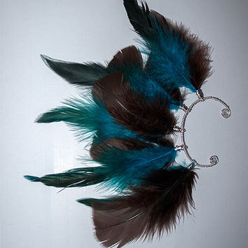 Feather Ear Cuff - Brown and Blue