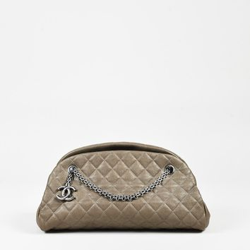 "Chanel Taupe Quilted Leather ""Medium Just Mademoiselle Bowling"" Bag"