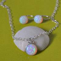 Opal necklace in sterling silver adjustable chain pendant necklace