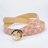 GUCCI New Style Women Smooth Buckle Belt Leather Belt Pink I