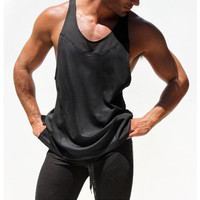 Sport Vest 2016 Sexy Men Gym Tank Body building Muscle Workout  Mesh Breathable Black/white  Fitness Tops Sportwear