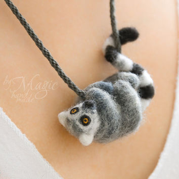 Needle felted lemur on braided neckalce, kumihimo, needle felting, wool toy, felt animal, gift, felted lemur, miniature, felt creature