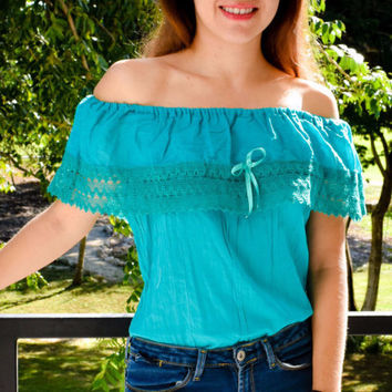 Mexican Campesina Off-Shoulder Crochet Top