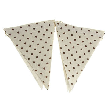 Polka Dot Burlap Triangle Banner, Chocolate, 6-Inch x 8-Inch, 6-Piece