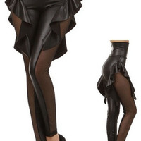 Gothic Punk Rock Star Wetlook Leather Like Faux Skirt Leggings Pants Tights (Size: M, Color: Black) = 1945817668