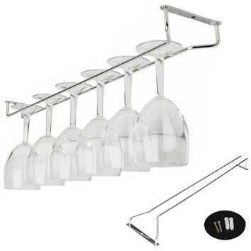 New Chrome Plated Stemware Wine Glass Cup Hangers Rack Shelf Holder Hanging +Screws Set 55cm 21 Bar Decoration
