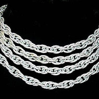 """Flapper Chain Necklace White Silver Metal Cable Links Long 56 """" Holiday Vintage Jewelry"""