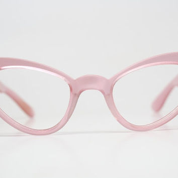 Pink Cat Eye Glasses Cateye Eyeglasses NOS Vintage Glasses