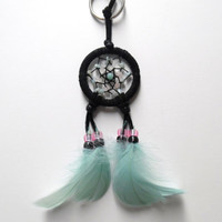 Dream Catcher Keychain with Amazonite and Rose Quartz crystals