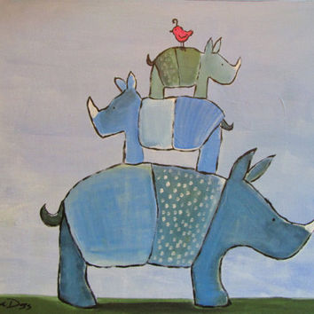 Whimsical Rhino Painting Original Childrens Art by by andralynn