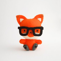 Glasses nerd fox, soft animal weird, made to order