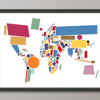 Abstract Map of the World Map Art Print on etsy