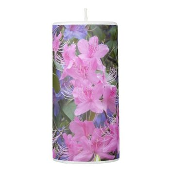 Spring Rhododendrons Floral Pillar Candle